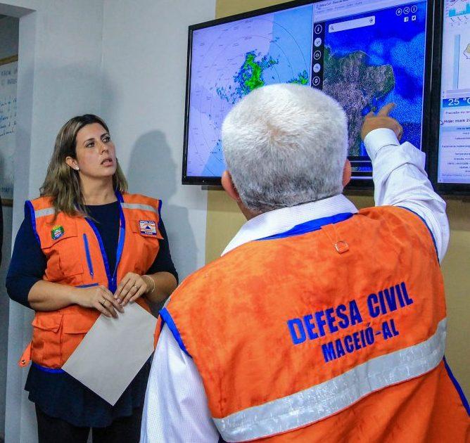 Monitoramento vem sendo feito pela Defesa Civil de Maceió. (Foto: Pei Fon/ Secom Maceió)