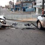 Motorista invade contramão e provoca colisão no viaduto João Lyra