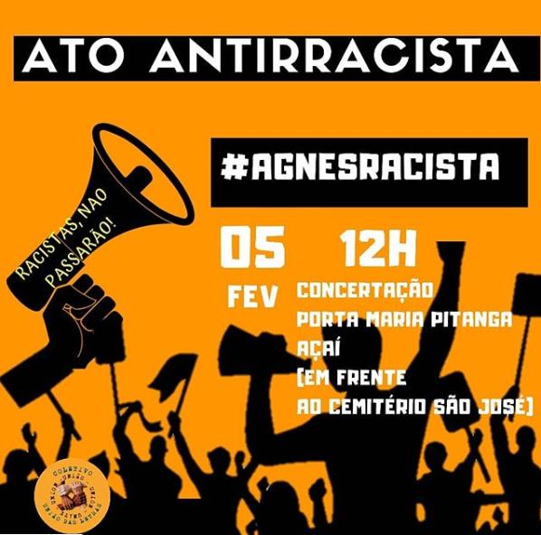 Será realizado um protesto na porta da escola em favor da professora Taynara Silva. (Foto: Reprodução/Instagram)