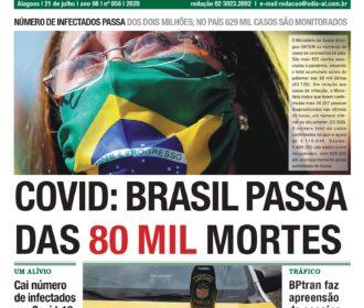 COVID: BRASIL PASSA DAS 80 MIL MORTES