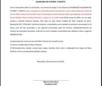 Federação Alagoana de Futebol 7 publica edital de convocação para Assembleia Geral