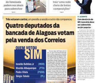 Quatro deputados da bancada de Alagoas votam pela venda dos Correios